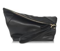 Origami Handtasche aus Leder in schwarz