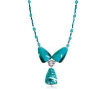 Marina 3 - Halskette aus Muranoglas und Silber in türkis