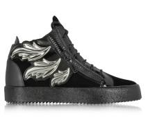 Black Velvet and Leather High Top Sneaker