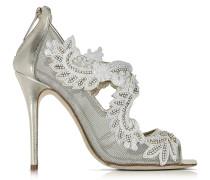 Ambria High Heel Sandale aus Metallicleder und Mesh mit Pailletten in gold