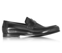 Darblay Shiny Black Leather and Suede Loafers w/Studs