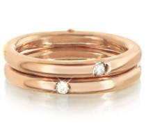 Doppelter Secret Ring aus 9k Gold in pinkfarben mit Diamanten