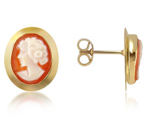 Cornelian Ohrringe aus 18k Gold mit Kamee