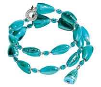 Marina 1 Rigido - Armband aus türkisgrünem Muranoglas und silbernem Blatt