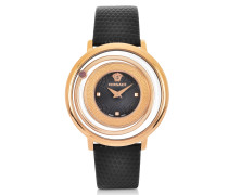 Venus Stainless Steel w/Black Leather Strap Women's Watch