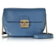 Cobalt Blue Club Mini Pebble Leather Crossbody Bag