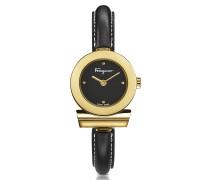 Gancino Gold IP Damenuhr aus Edelstahl und Lederarmband in schwarz