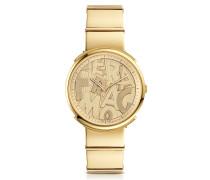 Logomania Gold IP Sunray Stainless Steel Women's Watch w/Ferragamo Lettering Dial