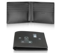 Plug Socket Herren-Brieftasche aus Leder in schwarz mit Print