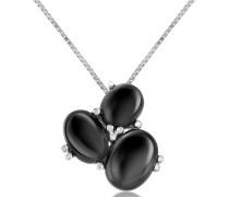 Halskette mit Anhänger aus drei Edelsteinen und Diamanten - 18k Gold