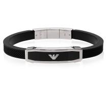 Herren - Armband aus Edelstahl mit schwarzem Kautschuk