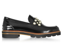 Mocpearl Jet Mirror Leather Loafers w/Pearls
