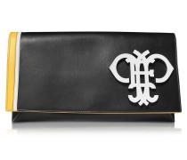 Clutch aus Leder in schwarz mit Logo