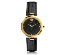 Idyia Decagonal Black and Gold Women's Watch with Greek Engraving
