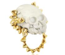 Ring aus Bronze mit Totenkopf aus Marmor