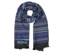 Zig Zag Herrenschal in Blautönen aus Wolle