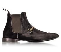 Dark Brown Velvet Boots
