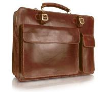 Handgearbeitete Aktentasche aus echtem braunem Leder