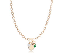Hollywood Stone Yellow Gold Over Bronze Chain Necklace w/Hydrothermal Green Stone and Glass Pearl