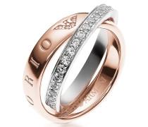 Heritage Double Ring in rosegoldfarben mit Kristallen besetzt