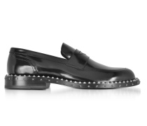 Black Leather Stars and Studs Men's Loafer