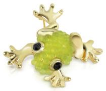 Vergoldete Brosche mit hellgrünem Frosch