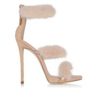 High Heel Sandale aus Lackleder und krokogeprägtem Leder mit Pelz