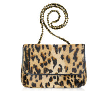 Schultertasche mit Leopardenprint auf Kalbshaar