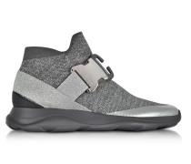High Top Sneaker aus Lurex in silber