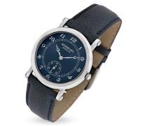 Uhr aus Edelstahl mit eidechsengeprägtem Armband in blau