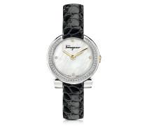 Gancino Damenuhr aus Edelstahl und Perlmutt mit Diamanten und Krokoarmband in schwarz