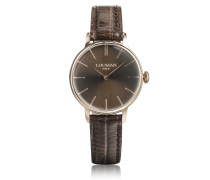 1960 Rose Gold PVD Stainless Steel Women's Watch w/Brown Croco Embossed Leather Strap