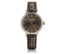 1960 Armbanduhr aus Edelstahl in rosegold mit krokogeprägtem Lederarmband