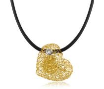 Arianna - Kleiner Herzanhänger am Band mit Diamant