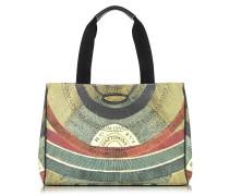 Planetarium Shopper aus Stoff und Leder mit Griffen aus Canvas mit Logo