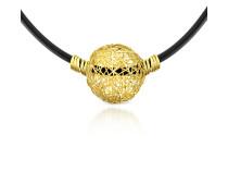 Arianna - Halskette aus Kautschuk mit Anhänger aus 18k Gelbgold