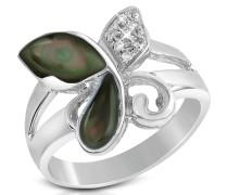 Ring aus 18k Gold mit Schmetterling aus Perlmutt und Diamant