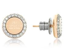 Boulevard Stone Yellow Gold Over Bronze Stud Earrings w/Stones