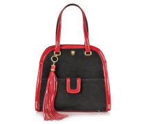 Black Suede and Red Patent Leather Shoulder Bag