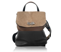 Full Joy Color Block Suede and Leather Large Backpack/Shoulder Bag