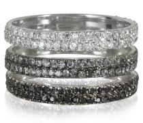 Triple Band Ring aus 18k Weißgold mit Diamanten in weiß grau und schwarz