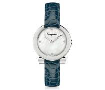 Gancino Damenuhr aus Edelstahl und Perlmutt mit Diamanten und Krokoarmband in blau