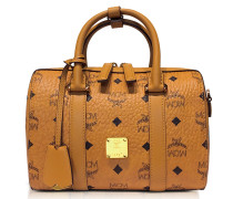 Small Cognac Signature Visetos Original Boston Bag