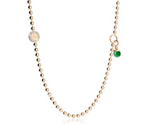Boulevard Stone Yellow Gold Over Bronze Necklace w/Double Charms