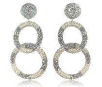 Ohrclips mit 2 perlenbesetzten Ringen in silber