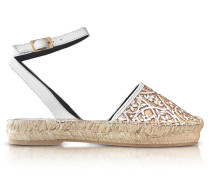 Tina White & Beige Lasercut Leather and Raffia Espadrilles