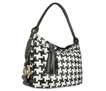 Handtasche aus Leder mit schwarz & weissem Webmuster