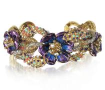Brass Armband mit Kristallen und Blumen in goldfarben