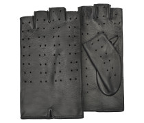 Women's Black Perforated Fingerless Leather Gloves
