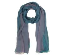 Langer Schal aus Seide in türkis und lila